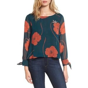 CUPCAKES AND CASHMERE Josette green floral blouse